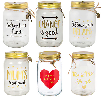 Dreams Travel Glass Saving Jar Adventure Fund Piggy Bank Money Box Boxes