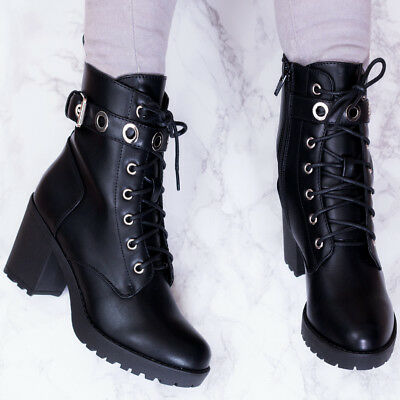 SPYLOVEBUY MAGPIE LACE UP BLOCK HEEL ANKLE BOOTS SHOES