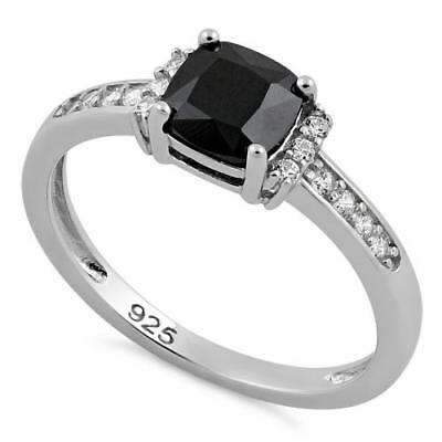 Melchior Jewellery Sterling Silver Cushion BLACK CZ Ring Gift Boxed