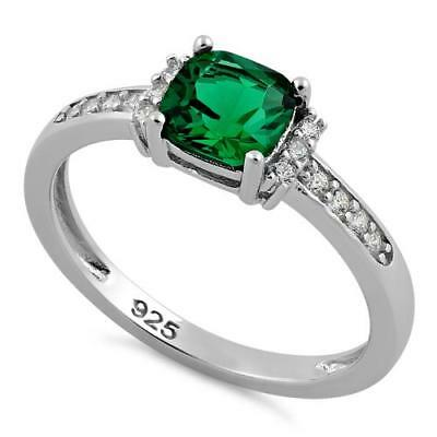 Melchior Jewellery Sterling Silver Cushion Emerald CZ Ring Gift Boxed