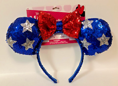 Disney Minnie Mouse Ear Headband Patriotic Red White Blue Silver Stars & Bow