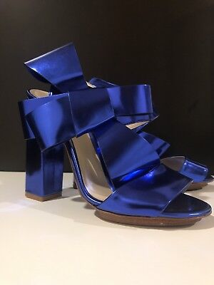Delpozo High Heel Shoes In Blue Metallic With Bow Sz 38