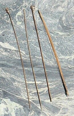 Fine Unusual South American Amazon Indian Guyana Bow & 3 Arrows Feather Flights