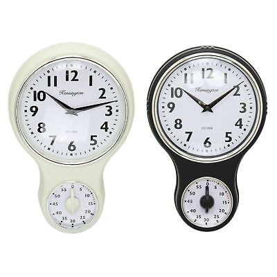 Kensington Traditional Retro Kitchen Hanging Wall Clock With Timer