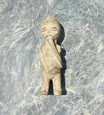 Unusual Small African Tribal Art Carved Janus Figure Possibly Lobi Tribe Doll?