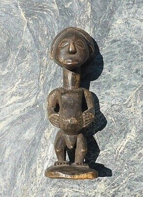 Small Unusual African Tribal Art Carved Congo Luba Hemba Male Standing Figure Nr