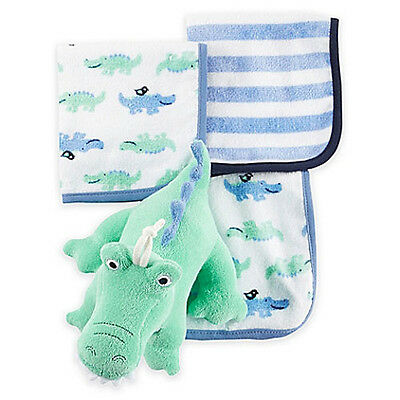 NEW Carter's Alligator Plush Bath Toy and 3 pack Baby Washcloth Set Baby Shower