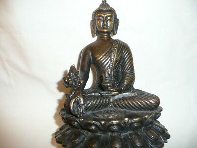 Antique SEAsian Large&Heavy Bronze BUDDHA Statue,Seated on a Double Lotus Throne