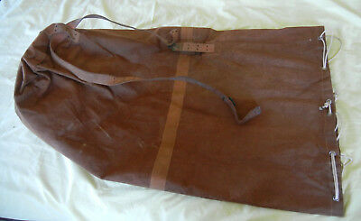 Vintage Heavy Canvas Duffle Bag W Leather Straps 1930s Maine Camp Find