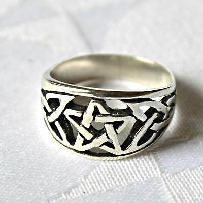 Celtic Pentagram Wide Ring Sterling Silver Wicca Witch Goth Pagan Reiki Charged