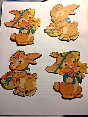 """SET OF 4 VINTAGE 4"""" CARDBOARD EASTER DECORATIONS DIE CUT OUT Bunny Rabbit"""
