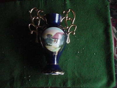 Vintage 9 1/2 inch Art Pottery Vase, Made in Portugal, Blue and Gold,165-0