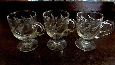 3 x Antique Victorian Custard Cups with handles and etched fern leaf designs