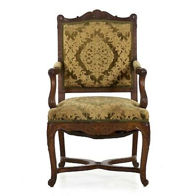 Finely Hand Carved Walnut Antique Rococo Revival Arm Chair in French Taste