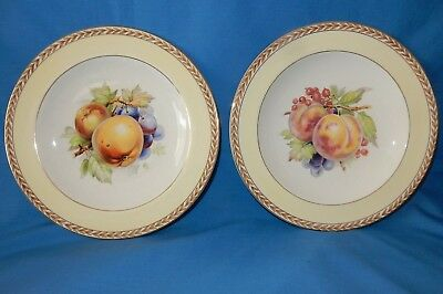 2 Crown Ducal Fruit Peach Apple Grape Red Currant Luncheon Plates Yellow Gold
