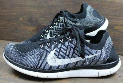 hot sale online 34307 d49e2 NIKE FREE FLYKNIT 4.0 Mens White Black Oreo RN Running Sneakers Shoes Size  11
