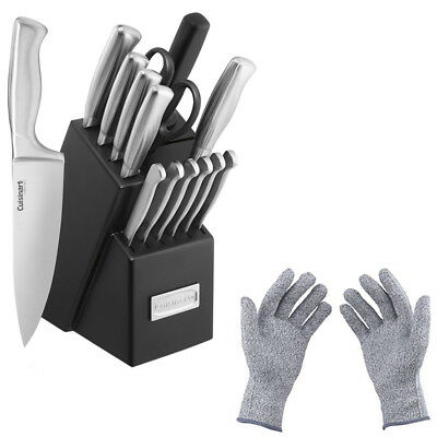 Cuisinart 15pc Stainless Steel Cutlery Block Set w/ Protective Gloves