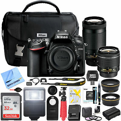 Nikon D7200 DX-Format 24.2MP DSLR Camera Body with 18-55mm & 70-300mm Pro Bundle