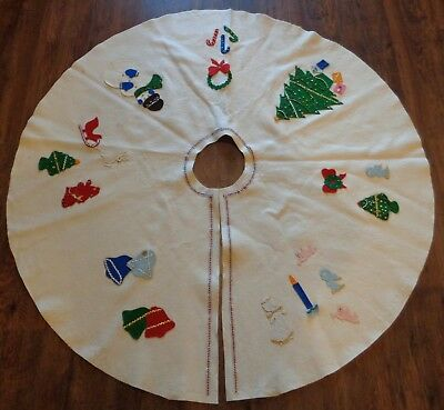 CHRISTMAS TREE SKIRT Felt Completed Made from Kit VINTAGE
