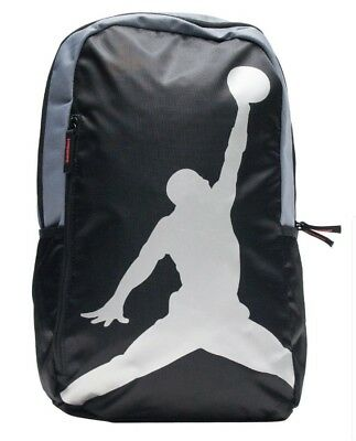 New Nike Air Jordan Jumpman Logo Gym Backpack Laptop Book Bag Gray Silver  Black 49588e2ce3b22