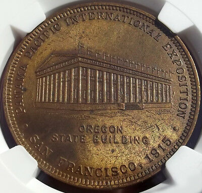 1915 Panama-Pacific Expo Medal - Oregon State Building - HK411, MS63 NGC - Token