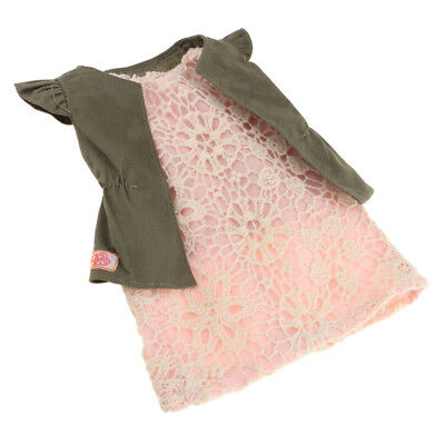 Handmade Fashion Dress & Vest For 18''American Girl Our Generation Doll Pink