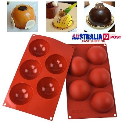 5 Half Ball Sphere Silicone Mold Cake Chocolate Candy Muffin Soap Baking Mould
