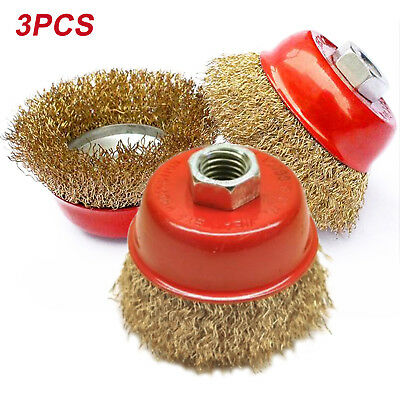 3PCS 65mm Rotary Brass Steel Wire Brush Crimp Cup Set wheel Angle Grinder M14 UK