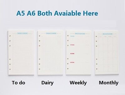 A5 A6 Refill Weekly Planner Refillable Pages for Binder Monthly Dairy Notebook