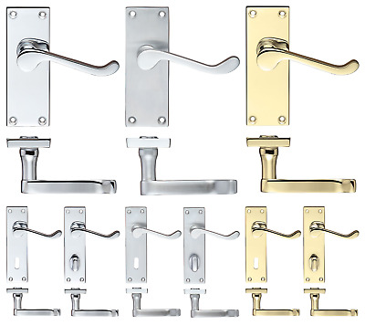 Victorian Scroll Door Handles Mortice Internal Latch Lock WC Chrome Satin Brass