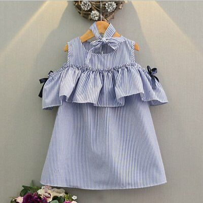 Kids Baby Girls Dress Striped Party Dress Short Sleeve Princess Dress Clothes