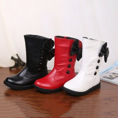 New Girls Children Winter Bow-knot Leather Snow Cotton Boots Mid-calf Shoes