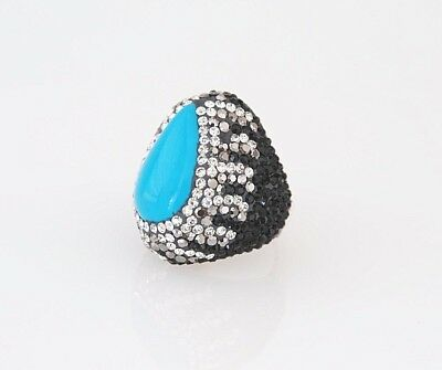 Turquoise Sterling Silver Ring Vintage Design Women Gift For Wife Bronze Ring