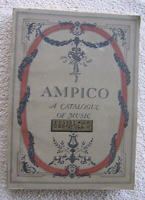 Vintage Original 1922 Ampico Piano Recordings Catalogue of Music~Large Print