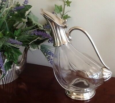 Vintage Silver Plated On Glass Duck Decanter / Water Jug