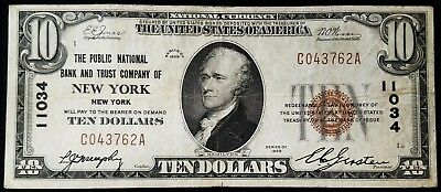 1929 $10.00 National Currency, The Public National Bank and Trust Co, New York!