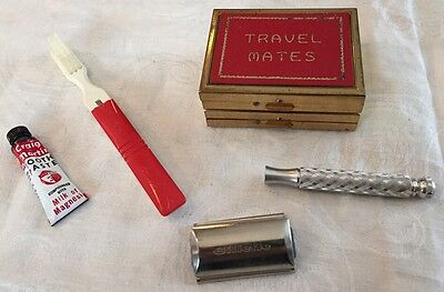 Vintage Travel Mates Gillette Safety Razor Folding Toothbrush Hard Compact Case