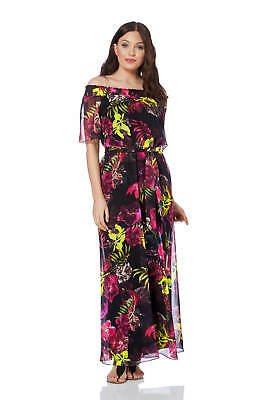 Roman Originals Women's Floral Bardot Maxi Dress Sizes 10-20