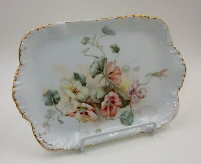 "Cfh / Gdm Limoges France Floral Porcelain 10.75"" Gold Trim Serving Tray"