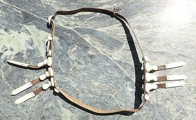 Superb Old Native American? Canadian Eskimo Inuit? Leather Belt With Attachments
