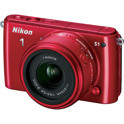 Nikon 1 S1 10.1MP Red Digital Camera with 11-27.5mm Lens Factory Refurbished
