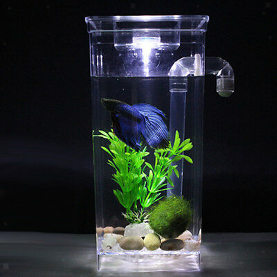 Acrylic LED Fish Tank Desktop Aquarium Betta Fishbowl Office Home Ornament