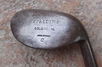 Antique Vintage Spalding Gold Medal C Concave Round Hickory Wood Shaft Golf Club