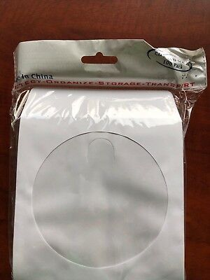 100 CD DVD White Paper Sleeve with Clear Window and Flap Envelopes New Free Ship