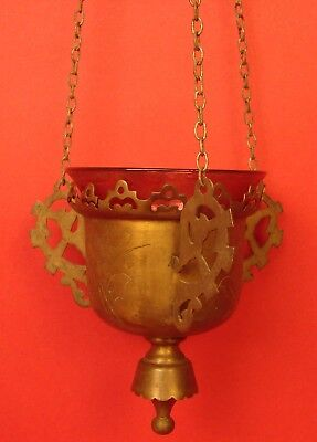 Antique Russian Orthodox Church Icon LAMPADA Lantern Lamp Brass + Glass Cup