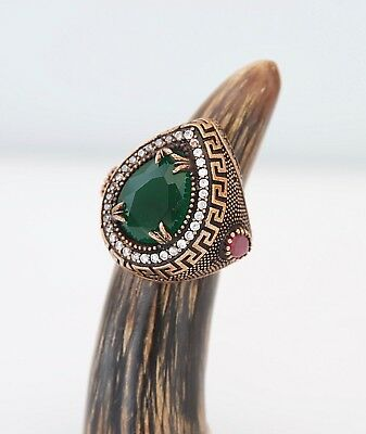 Green Emerald Silver Ring Vintage Design Women Gift For Wife Bronze Ring Ruby