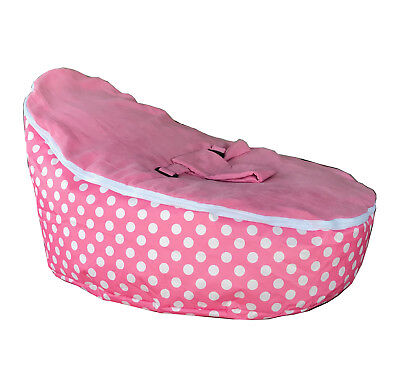 Baby Bean Bag Chair - UNFILLED With 2 Covers & Harness - Pink Polka Dots