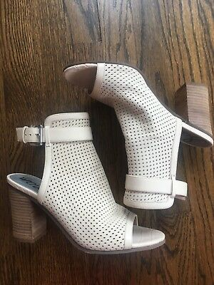 bc5af6296 Sam Edelman Emmie Open Toe Perforated Nude Leather Sling Back Heel Boots 9