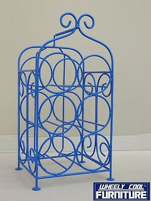 WINE RACK - 6 BOTTLE - WROUGHT IRON - French Blue