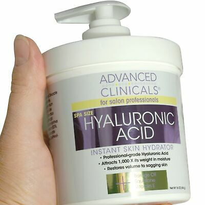 Advanced Clinicals Spa Size Hyaluronic Acid Cream for Skin Hydration - New 16oz